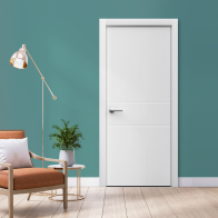 Дверь Sensa Minima 01 с фрезеровкой белый мат