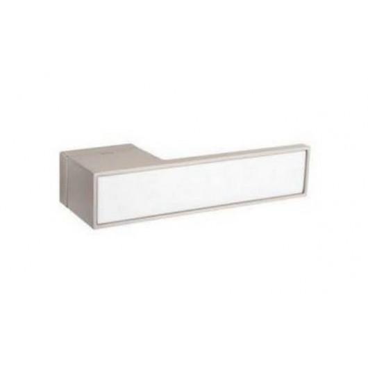 Дверная ручка TUPAI BIG 3084RT Матовый никель, вставка BM белая матовая